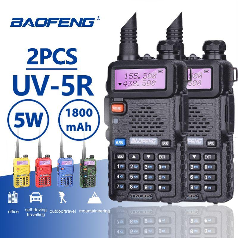 2 PCS Baofeng UV-5R Offre Spéciale Talkie Walkie 5 W Vhf Uhf Dual Band Portable Woki Toki UV5R Pofung CB Jambon station de Radio Baofeng UV 5R