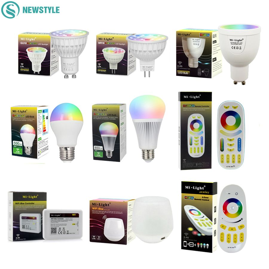 Mi Light Dimmable Led Bulb 4W 5W 6W 9W E27 MR16 GU10 RGBW RGBWW led Lamps Wireless Wifi Controller Box 2.4G RF Remote Controller