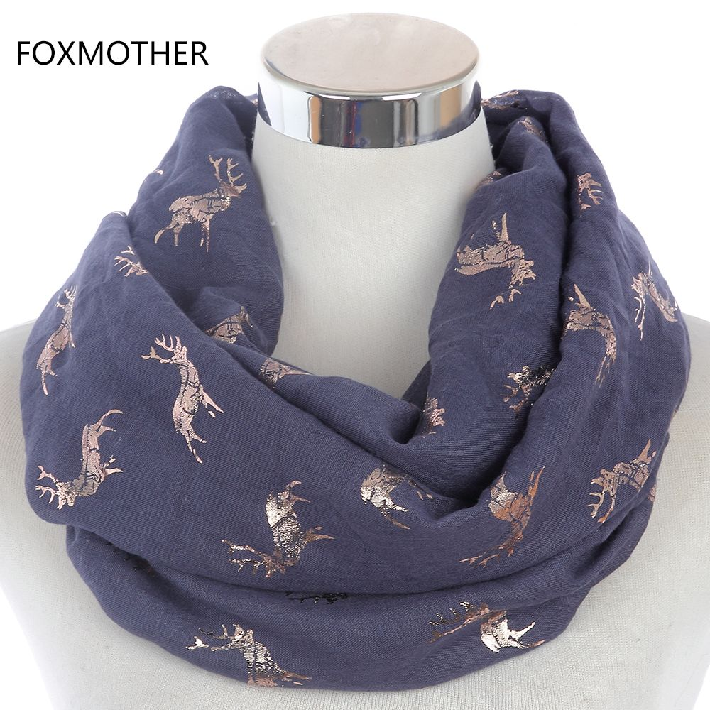 FOXMOTHER 2018 Winter Fashionable Women Christmas Navy Grey Bronzing Foil Gold Moose Deer Stag Print Ring Scarf Shawl Wrap Woman