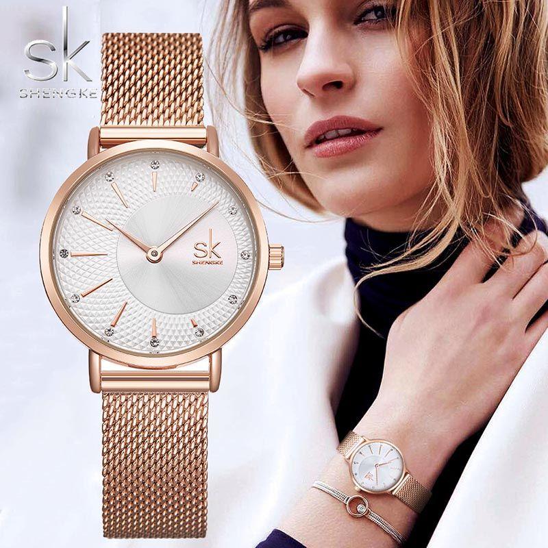 SHENGKE SK femmes Montre Top marque de luxe 2019 or Rose femmes Bracelet Montre pour dames Montre-Bracelet Montre Femme Relogio Feminino