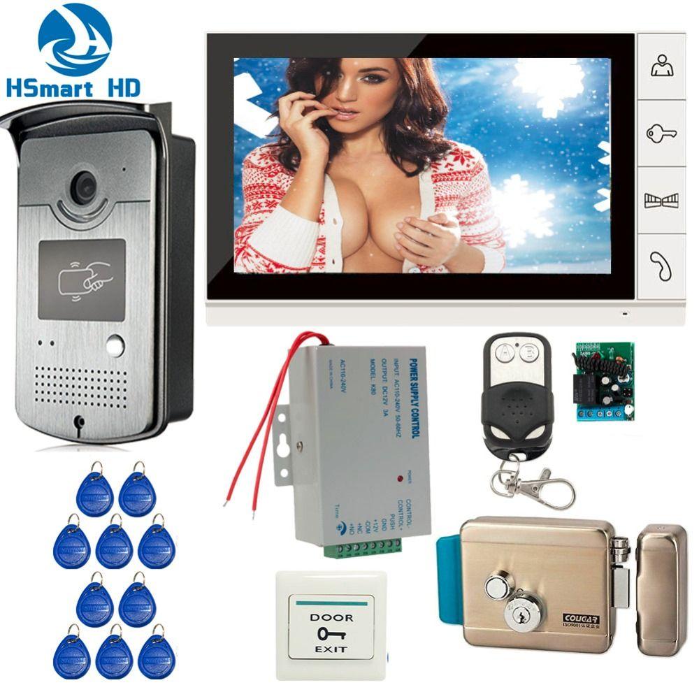 Новый проводной 9 дюймов телефон видео домофон запись Системы 1 Мониторы + 1 RFID Доступа ИК 700TVL Камера + электрический Управление замок