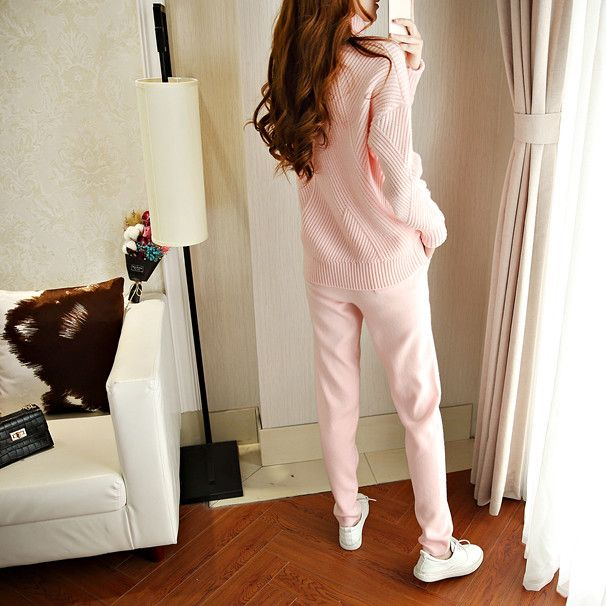 Tracksuits New Arrival Wool Full 2017 Winter New Cashmere Knitted Sweater Women Suit Fashion Casual High Collar Warm Two
