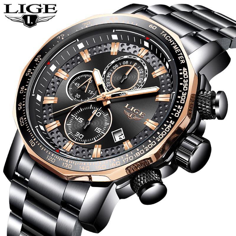 LIGE Men Watch Top Brand Luxury Full Steel Quartz WristWatch Mens Fashion Chronograph Sport Waterproof Watch Relogio Masculino