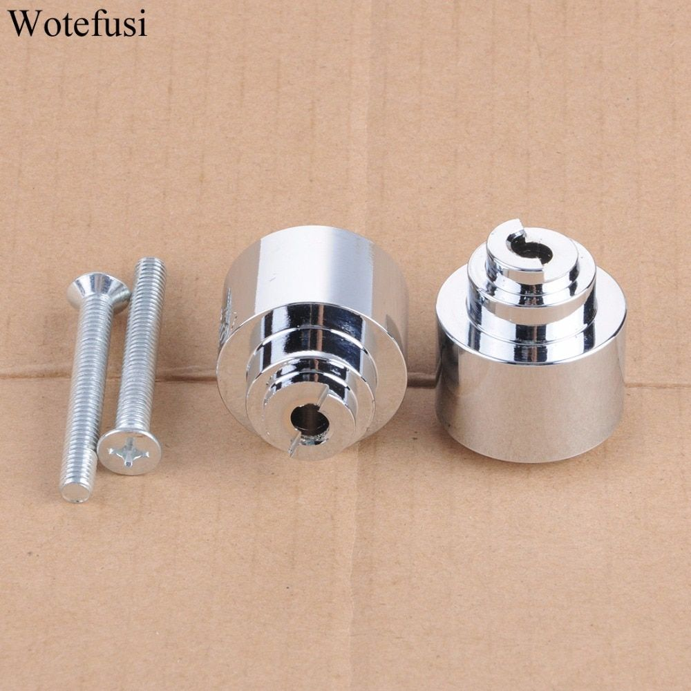 Wotefusi Chrome Handle Bar Cap Ends Weight For Honda CBR 125 250 300 500 600 F RR 650 VFR800 2001-2013 02 03 04 [PA475-PA476]