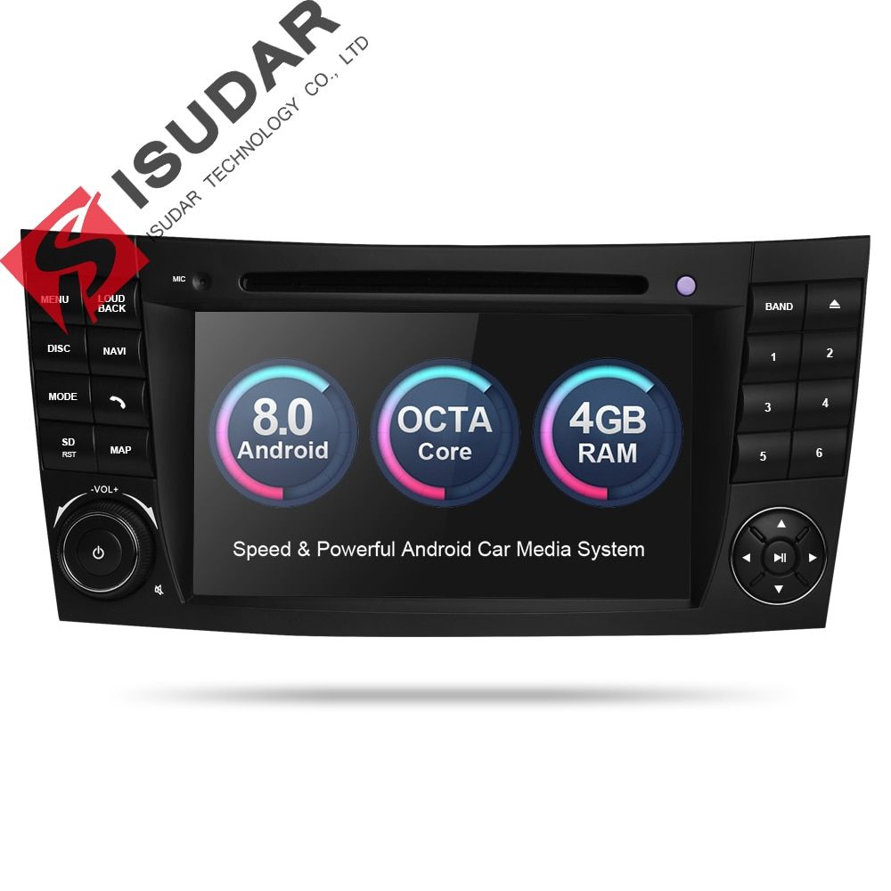 Isudar Car dvd automotivo Player 2 Din Android 8.0 GPS For Mercedes/Benz/E-Class/W211/CL 8 Cores 4GB RAM Wifi Radio am fm