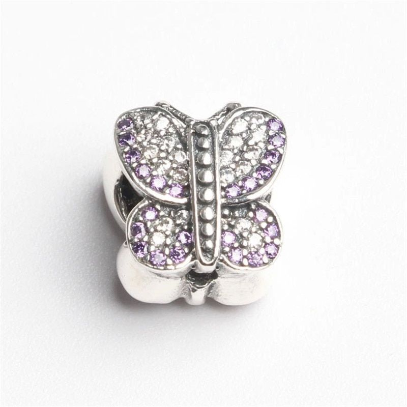 Original 925 Sterling Silver Sparking Butterfly Beads With Purple CZ Fits European Bracelets DIY Butterfly Charm Beads Women