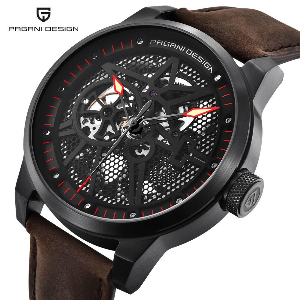 PAGANI DESIGN männer Klassische Skeleton Mechanische Uhren Wasserdicht 30 mt Echtem Leder Marke Luxus Hohl Automatische Uhr saat