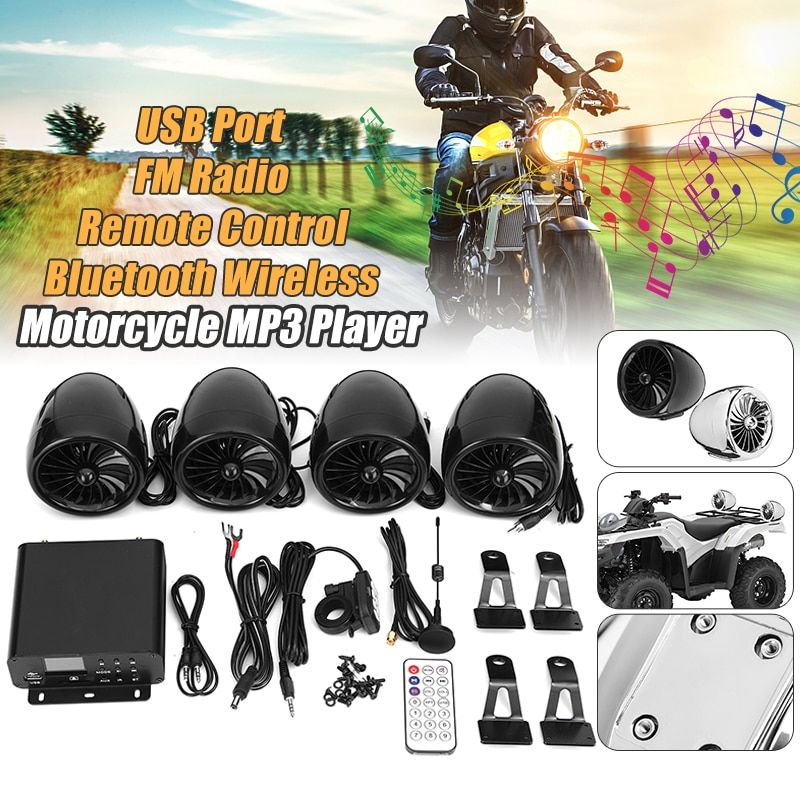 Mofaner 4PSC Motorbike ATV Audio1000W 12V LCD Bluetooth 4 Speakers+Amplifier Handlebar System Motorcycle/ATV