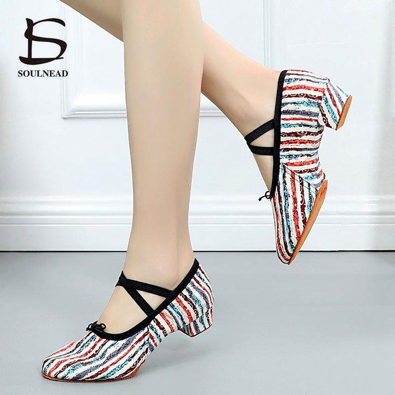 Femme chaussures de danse toile chaussures de Ballet fond souple filles talon bas chaussures de danse rose/noir/rouge femmes exercice chaussures de Ballet