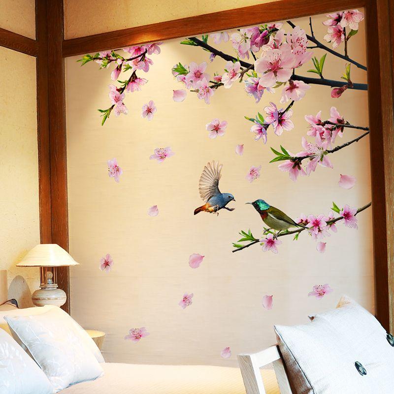 [SHIJUEHEZI] arbre branche fleur oiseaux Stickers muraux bricolage fleur de pêche Stickers muraux pour maison salon chambre décoration