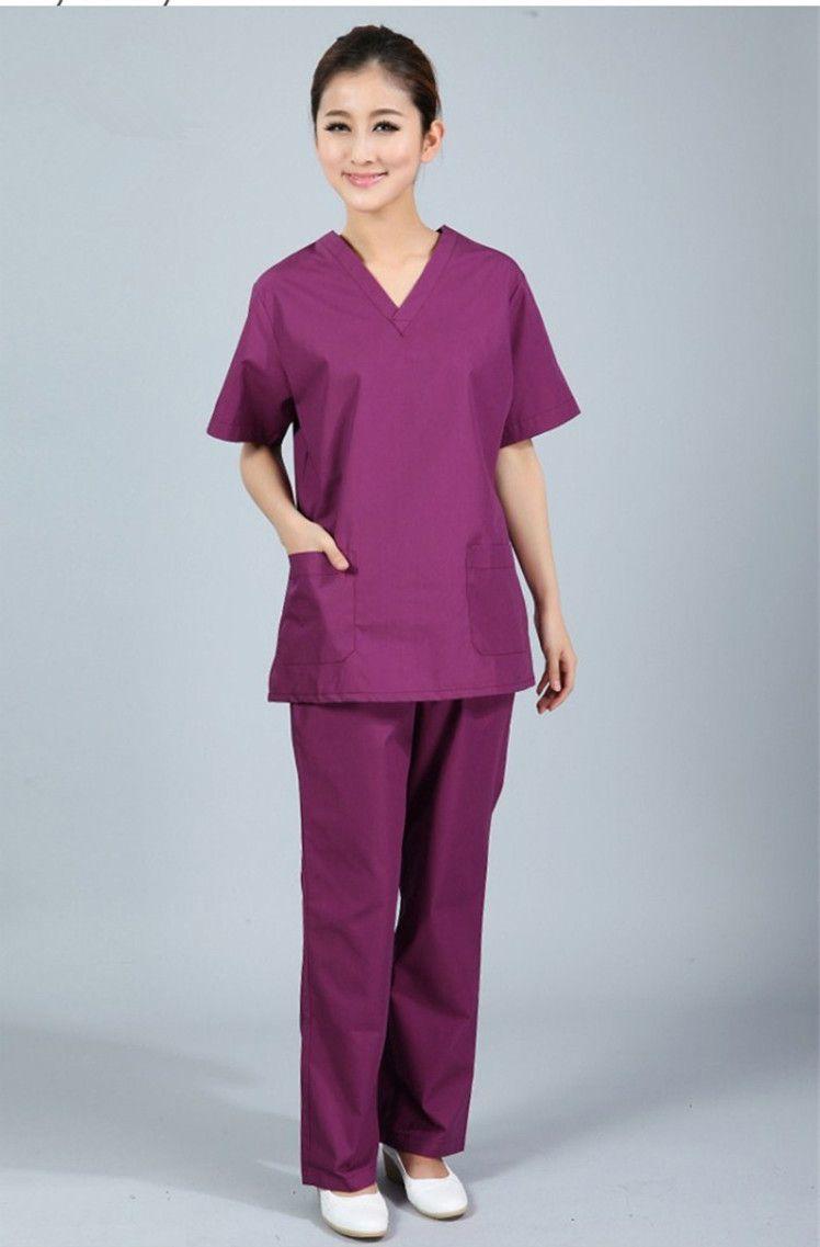 Nueva más el tamaño de Las Mujeres con cuello en V de Verano Enfermera del Hospital Uniforme Médico Friega Conjunto Ropa de Manga Corta Batas Quirúrgicas