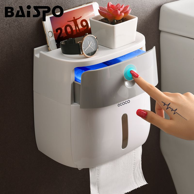 BAISPO Double Layer Toilet Paper Holder Waterproof Storage Box Wall Mounted Toilet Roll Dispenser Portable Toilet Paper Holders