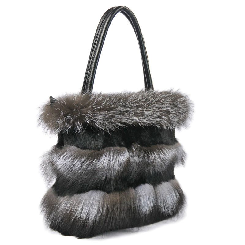 Luxury Womens Real Silver Fox Fur Decoration with Rex Rabbit Fur Trimming Real Cowhide Gifts Fashion Birthday Accessary LX00500