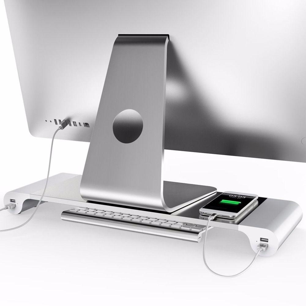 LESHP Aluminium 4 Ports USB Laptop Computer Monitor Halter Halterung sparen Raum Erhöhen Für PC Computer Für Apple + US EU stecker