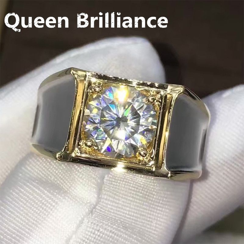 2 Carat ct F Color Engagement Wedding Lab Grown Moissanite Diamond Ring For Men Solid 14K 585 White Gold