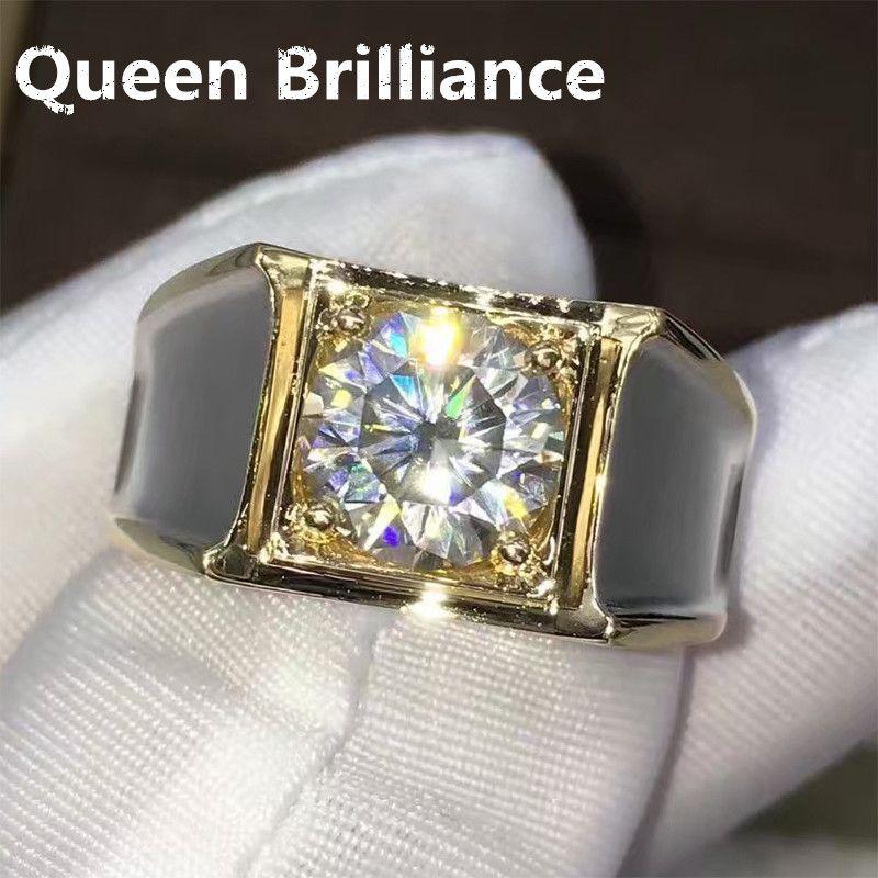 2 Karat ct F Farbe Engagement Hochzeit Lab Grown Moissanite Diamant Ring Für Männer Solide 14 Karat 585 Weiß Gold