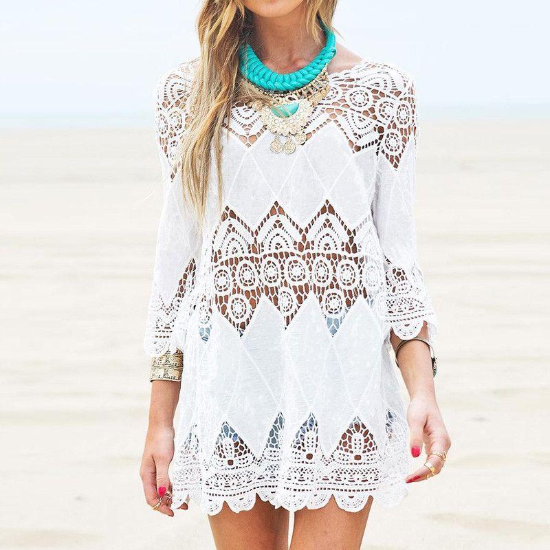 Vestidos 2018 Summer Boho Women Beach Mini <font><b>White</b></font> Dress Elegant Half Sleeve Lace Floral Crochet Hollow Out Solid Dress Long Tops