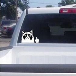 1 Pcs New Cute Car Decal Sticker Cut Grumpy Cat Claw Nail Middle Finger Flipping Off cute car sticker automobiles car-styling