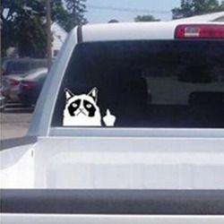 1 piezas nueva lindo etiqueta del coche gato garra del dedo medio Flipping Off pegatina lindo coche automóviles -estilo
