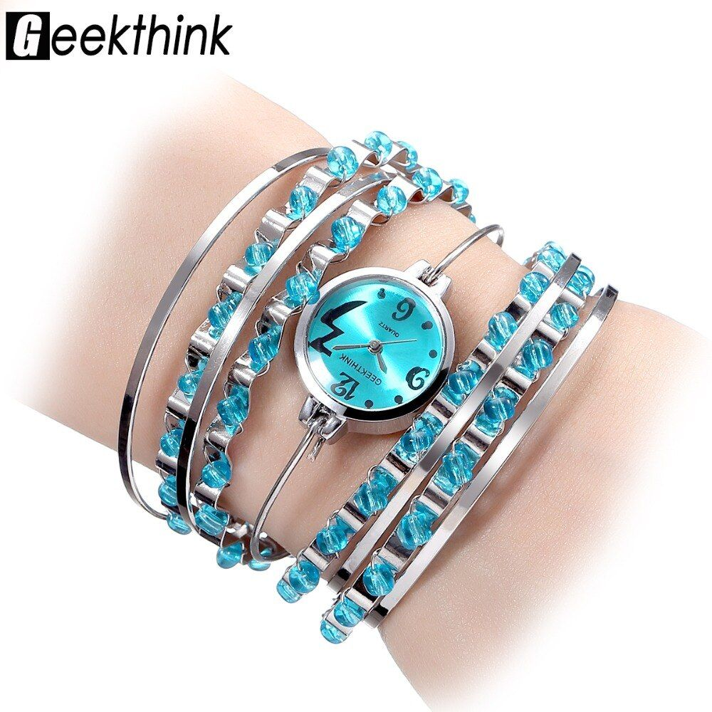 GEEKTHINK Brand NEW Bracelet watch-women Ladies Casual Dress Steel band  Bangle Clock Female Girls Trending mix colors Relogio