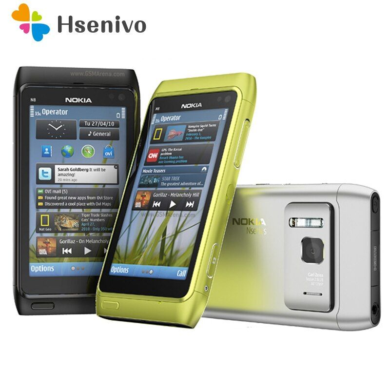 100% Original Nokia N8 Mobile Phone 3G WIFI GPS 12MP Camera 3.5 Touch screen 16GB Storage cheap phone