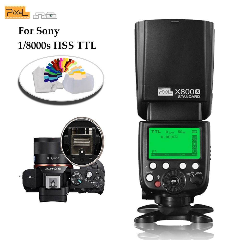 Pixel X800S Standard 2.4G Wireless GN60 TTL HSS Camera Flash Speedlite For Sony A7 A77 A7R RX1 A6000 A6300 DSLR Vs X800N Yongnuo