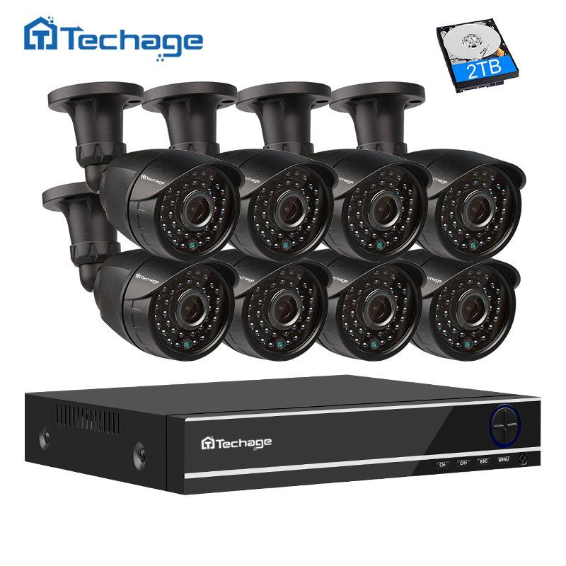 Techage 8CH 1080P HDMI AHD DVR Kit CCTV System (8) 2.0MP HD Security Camera IR Night View Outdoor Waterproof Surveillance Set