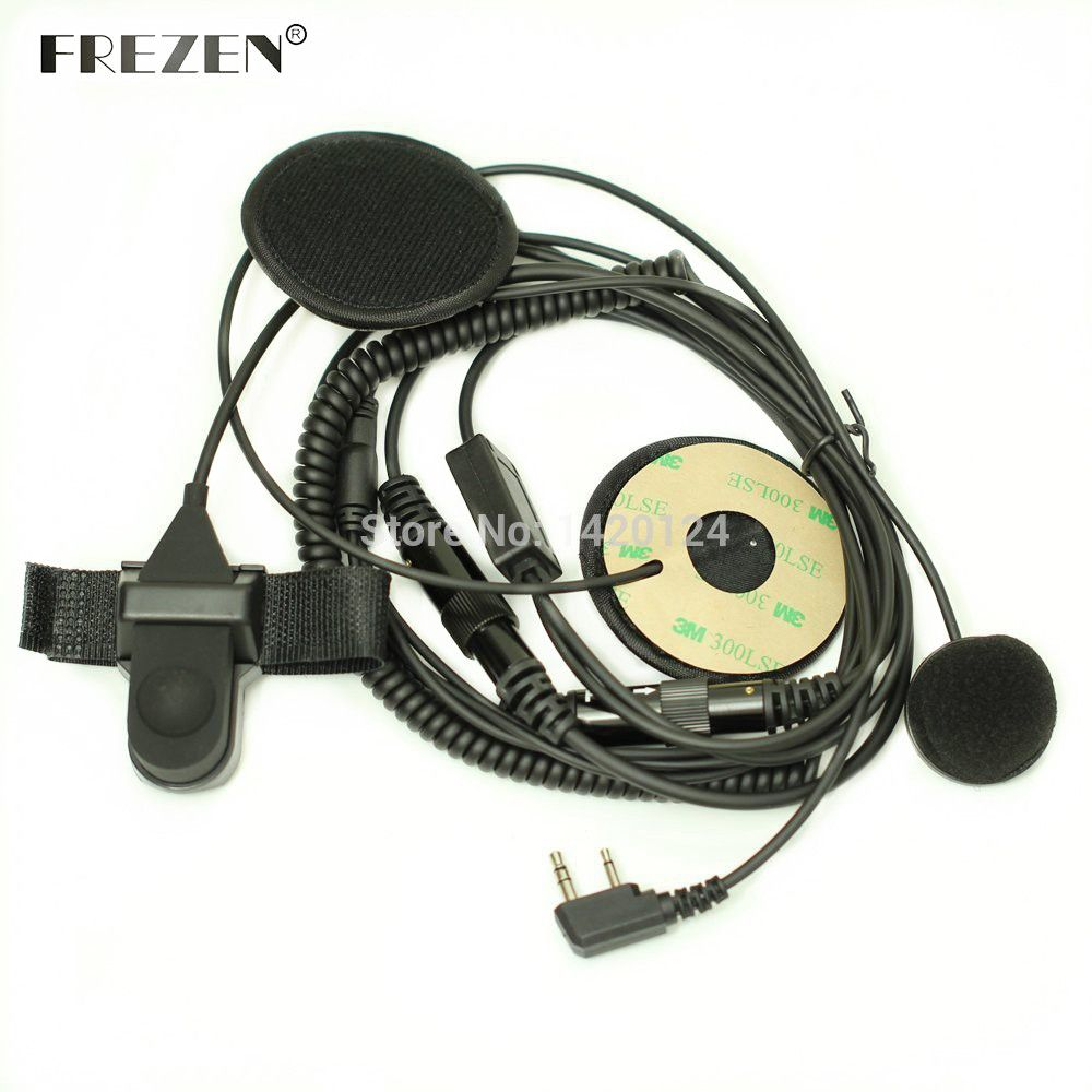 F Type Full Face Motorcycle Bike Helmet Earpiece Headset Mic Microphone 2-pin for Icom Maxon Yaesu Vertex Radio
