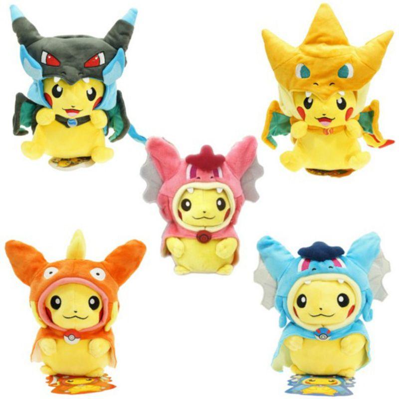 Cartoon Gyarados Cosplay Pikachu Peluche Mega Charizard Cotton Stuffed Animals Dolls Children Plush Toys Kids Christmas Gifts