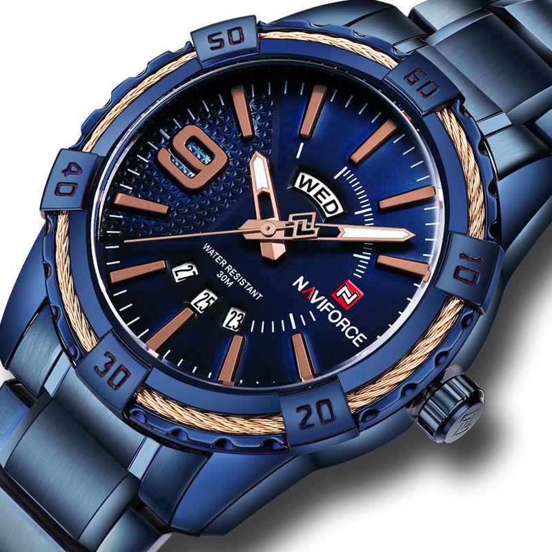 NAVIFORCE Watches Men Luxury Brand Sport Full Steel Quartz Watch Men's Waterproof Military Wrist watches relogio masculino+gift