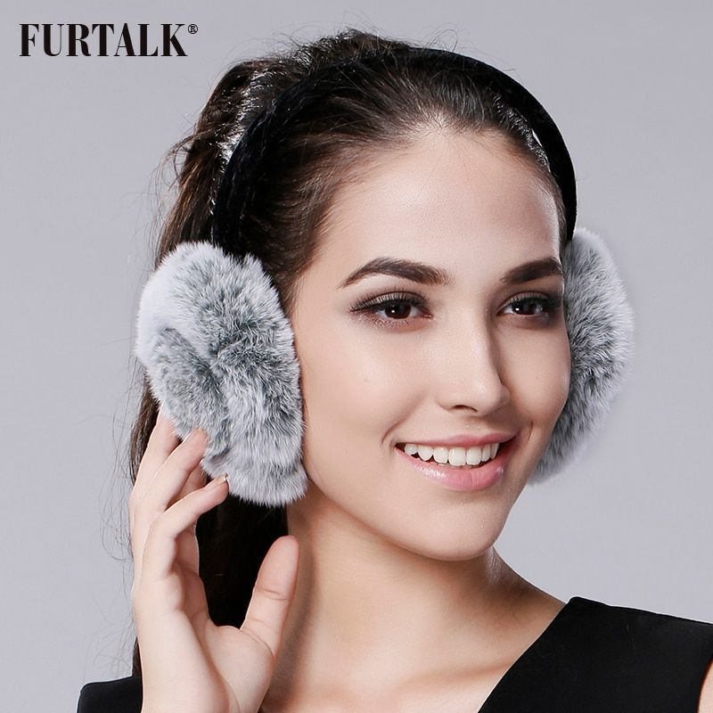 FURTALK Rex Rabbit Fur Winter Women Warm rabbit Fur Earmuffs Girl's Earlap Ladie's Plush Ear Muff