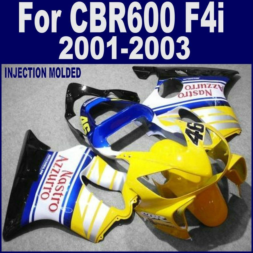 ABS plastic for HONDA CBR 600 F4i blue yellow custom fairing 01 02 03 CBR600 F4i 2001 2002 2003 fairing kits LVDS