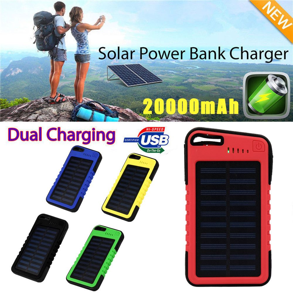 20000mah Dual-USB Waterproof Solar Power Bank USB External Battery Charger Best Phone Partner for iPhone for Sanmsung for Huawei