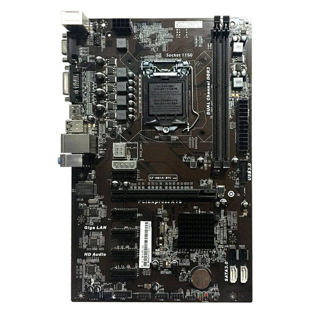 Carte mère H81A-BTC V20 Mineur ATX Conseil LGA1150 Socket Processeur H81 Carte Mère Support 6 Carte Graphique Pour L'exploitation Minière