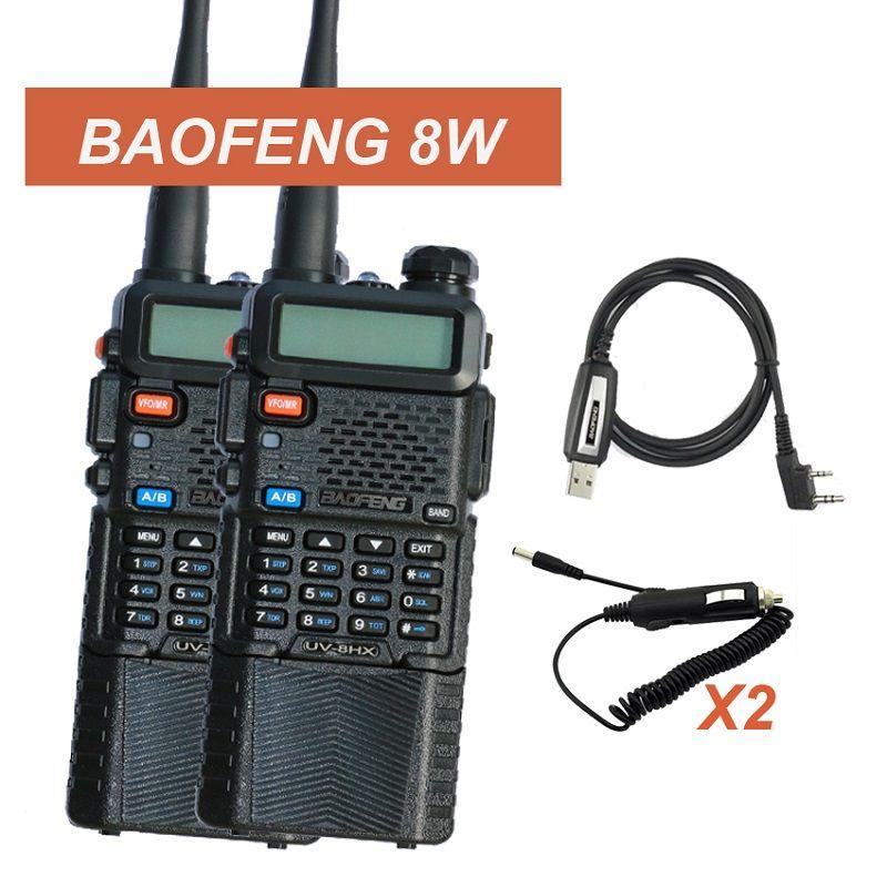 2pcs BAOFENG Walkie Talkie UV-5R Upgraded Version 8W Radio UV-8HX UHF+VHF Two-Way Radio FM Function w/ Original UV-5RE UV5R