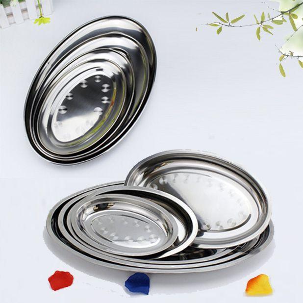 Plaque d'acier inoxydable Non magnétique de haute qualité approfondir plaque ovale vermicelles à la vapeur plat peu profond ordinaire 21-45 CM plat de poisson