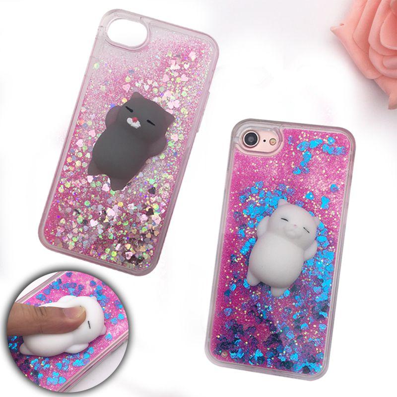Squishy Telefonkasten für iPhone 5 S Fall 3D Cartoon Katze Bling Glitter flüssige Treibsand Klar Abdeckung für iPhone X 10 6 S 7 8 Plus fall