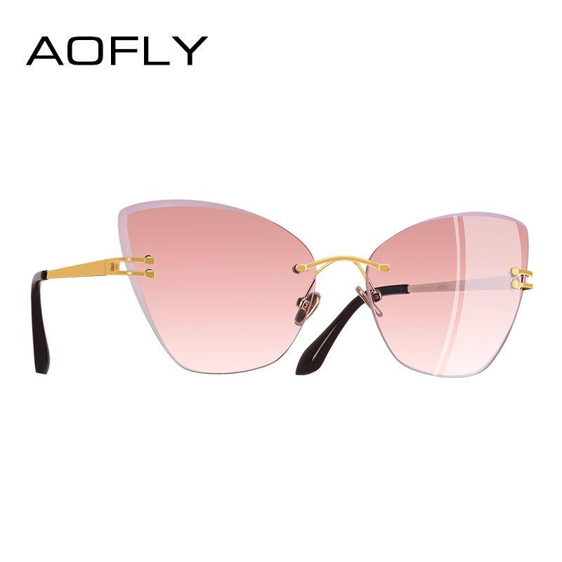 Aofly Marca Diseño gato atractivo Gafas de sol mujeres clásico gradiente lente Sol Gafas patas de metal gafas A100
