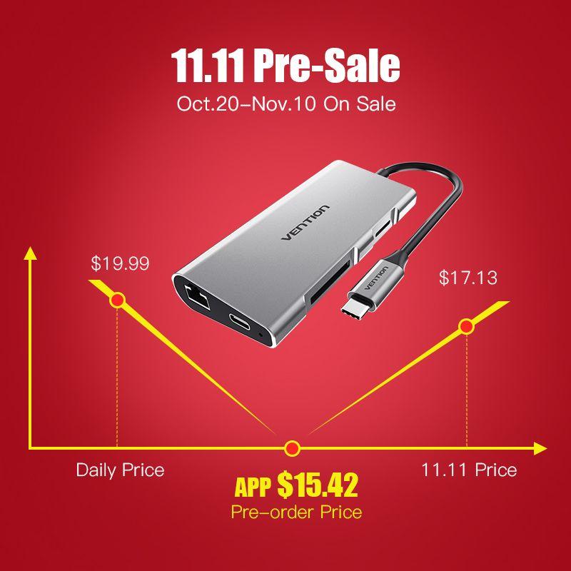 Vention Thunderbolt 3 Dock Adapter USB C to HDMI VGA USB 3.0 HUB RJ45 PD for MacBook Pro Huawei P20/Mate 10 USB-C HUB