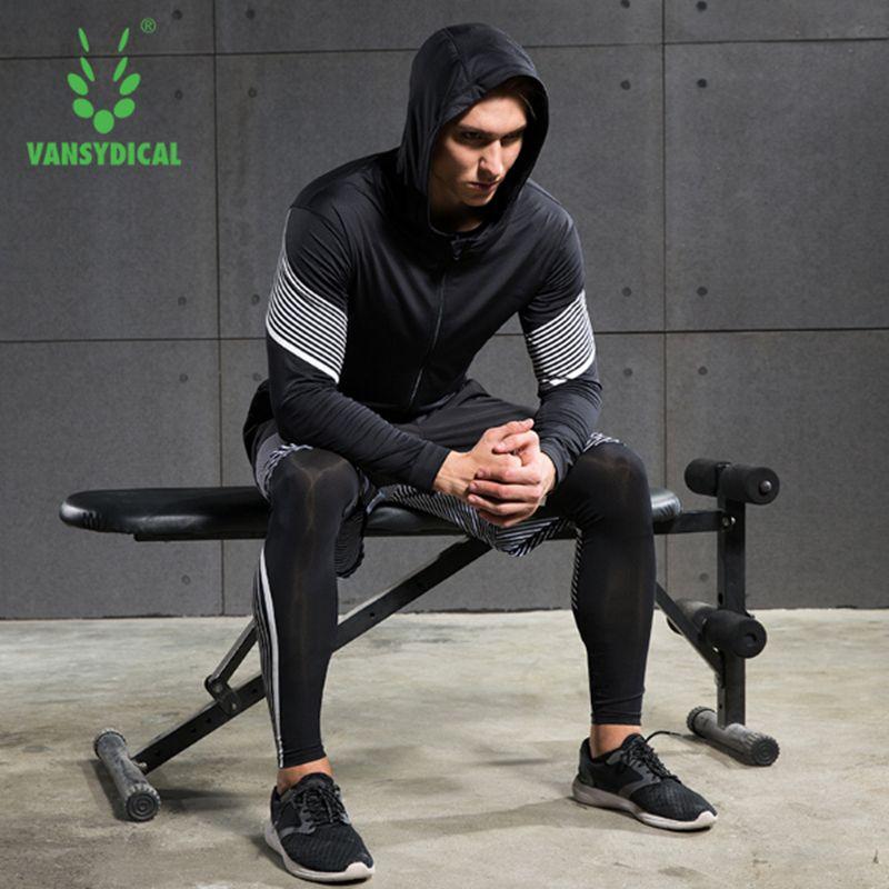 2018 Vansydical Running Suits Mens Sport Compression Shirt Running Suits Men 4pcs/set Training Tracksuits Men Gym Clothing Sets
