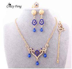 Trenddy Warna Emas Wanita Kalung Anting-Anting Gelang Cincin Kristal Merah Kostum India Kalung Pernikahan Perhiasan Set