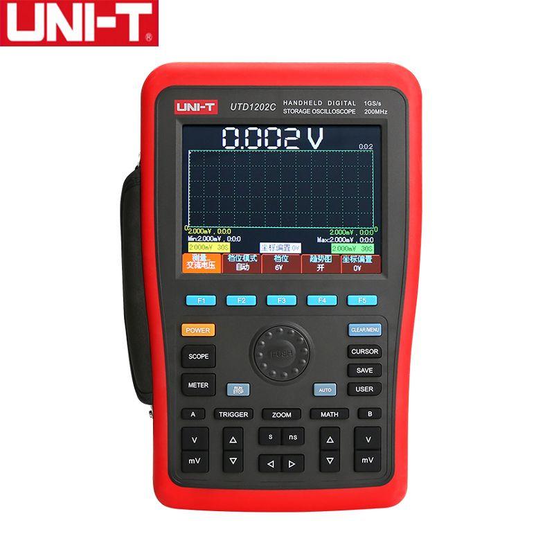 UNI-T UTD1202C Dual Kanal 200 MHz 1GS/s 7,5 kpts Handheld Digital Speicher Oszilloskop Oscillograph Wiederaufladbare