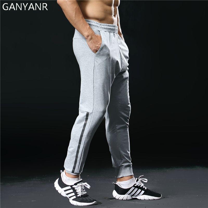 GANYANR Brand Running Pants Men Sport Leggings Training Jogging Gym Long Fitness quick dry slim fit Football Sweatpants Elastic