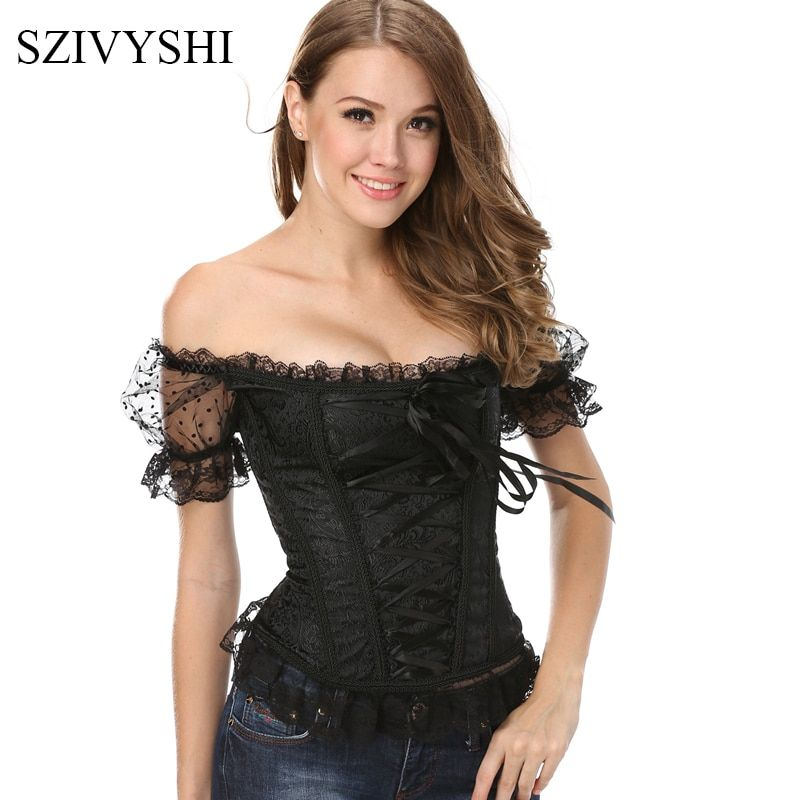 2017 New Bowknots Sweetheart Lace up Back white black Girl Corset shoulder strap Boned Basque Bustier Top with Sleeve steampunk