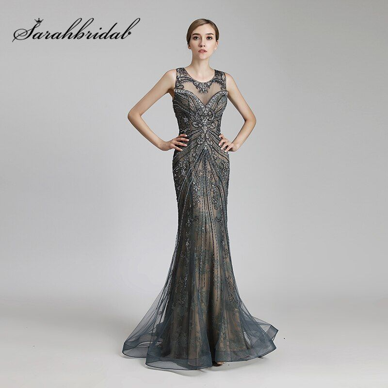 New Design Luxury Beading Long Mermaid Celebrity Dresses Vintage Steel Tulle Party Dress Women Fashion Red Carpet Gowns OL429