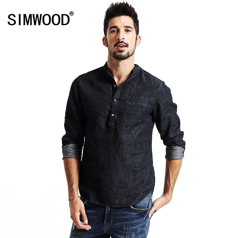 SIMWOOD nouveau automne 2019 chemises hommes à manches longues Denim mode chemise coton et lin décontracté marque vêtements CS1566