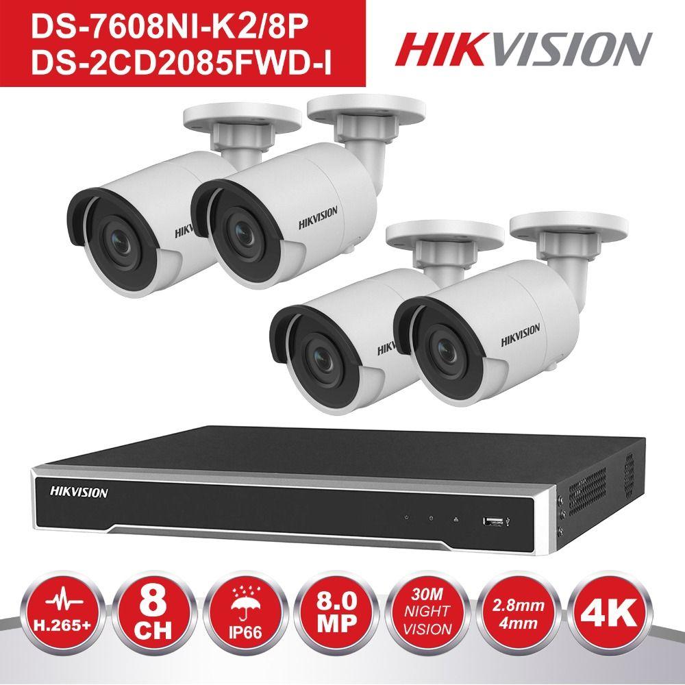 Hikvision 8 Kanal POE NVR Kit CCTV Security System 4 stücke Outdoor 8MP Kugel POE IP Kamera P2P Video Überwachung system
