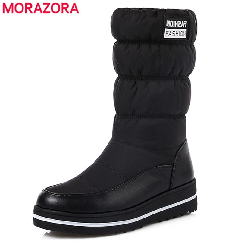 MORAZORA Plus size 35-44 new snow boots women warm cotton down shoes waterproof boots fur platform mid calf boots black