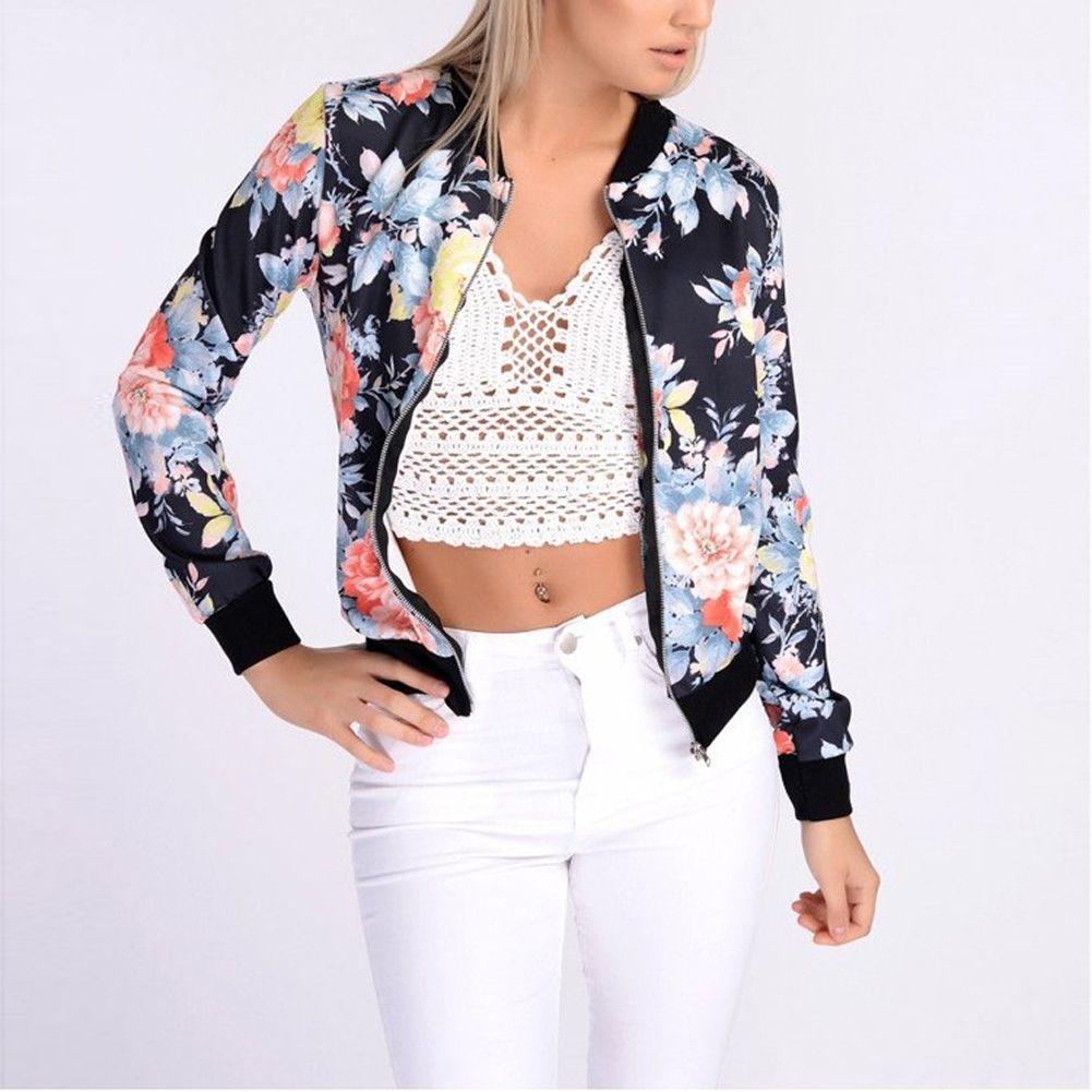 Femmes rétro fleur imprimé Floral veste Zipper Bomber col Slim manteau veste décontractée femme automne printemps veste de mode dames