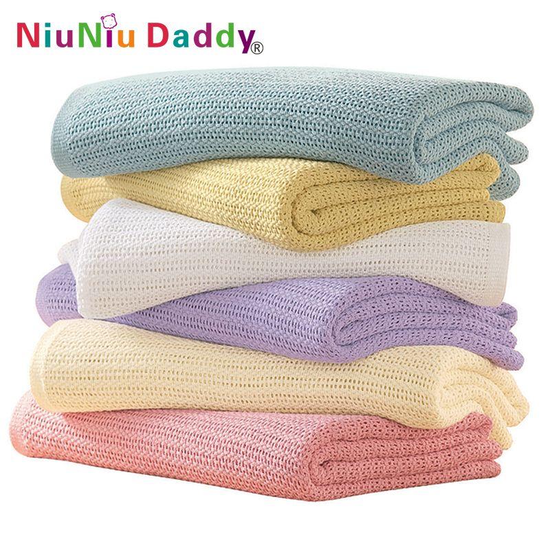 Niuniu papa coton Crochet nouveau-né bébé couvertures couverture cellulaire été couleur bonbon décontracté couchage lit fournitures trou Wrap